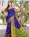 image of Party Wear Blue Color Fancy Saree In Art Silk With Weaving Border