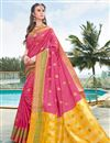 image of Art Silk Pink Party Wear Fancy Saree With Weaving Border