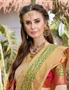 photo of Party Wear Art Silk Beige Fancy Saree With Weaving Border