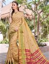 image of Party Wear Art Silk Beige Fancy Saree With Weaving Border