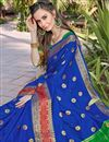 photo of Art Silk Party Wear Fancy Saree In Blue Color With Weaving Border