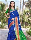 image of Art Silk Party Wear Fancy Saree In Blue Color With Weaving Border