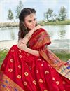 photo of Red Party Wear Fancy Art Silk Saree With Weaving Border