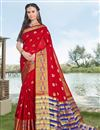 image of Red Party Wear Fancy Art Silk Saree With Weaving Border