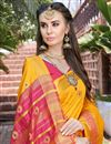 photo of Party Wear Art Silk Fancy Saree In Mustard With Weaving Border
