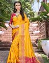 image of Party Wear Art Silk Fancy Saree In Mustard With Weaving Border