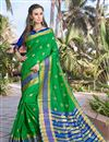 image of Green Art Silk Party Wear Fancy Saree With Weaving Border