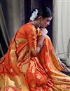 photo of Art Silk Function Wear Designer Orange Saree With Weaving Work