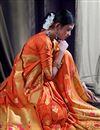 photo of Orange Function Wear Designer Art Silk Saree With Weaving Work