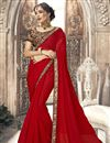 image of Chiffon Plain Red Saree With Lace Border And Fancy Blouse
