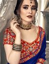 photo of Blue Plain Chiffon Saree With Lace Border And Embroidered Blouse