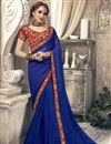 image of Plain Blue Chiffon Saree With Lace Border And Embroidered Blouse