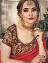 photo of Plain Red Chiffon Saree With Lace Border And Embroidered Blouse