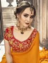 photo of Chiffon Mustard Plain Saree With Lace Border And Fancy Blouse