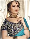 photo of Sky Blue Plain Chiffon Saree With Lace Border And Fancy Blouse