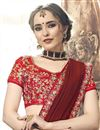 photo of Plain Chiffon Maroon Saree With Lace Border And Embroidered Blouse