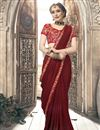 image of Chiffon Plain Maroon Saree With Lace Border And Embroidered Blouse