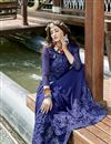 photo of Georgette Party Style Designer Thread Embroidered Saree In Blue