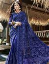 image of Georgette Party Style Designer Thread Embroidered Saree In Blue