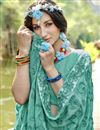 photo of Cyan Party Style Georgette Designer Thread Embroidered Saree