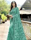 image of Georgette Party Style Designer Cyan Thread Embroidered Saree