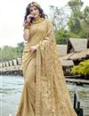 image of Party Style Designer Thread Embroidered Georgette Saree In Beige