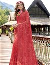 image of Georgette Party Style Designer Red Thread Embroidered Saree