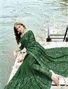 photo of Dark Green Georgette Party Style Designer Thread Embroidered Saree
