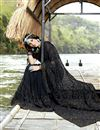 photo of Party Style Designer Black Georgette Thread Embroidered Saree