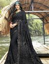 image of Party Style Designer Black Georgette Thread Embroidered Saree