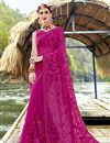 image of Magenta Party Style Designer Thread Embroidered Saree In Georgette