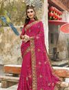 image of Georgette Party Wear Designer Thread Embroidered Saree In Pink