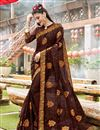 image of Brown Party Wear Georgette Designer Thread Embroidered Saree