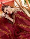 photo of Party Wear Designer Thread Embroidered Georgette Saree In Maroon