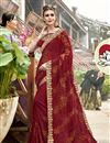 image of Party Wear Designer Thread Embroidered Georgette Saree In Maroon