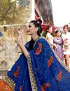 photo of Party Wear Designer Blue Georgette Thread Embroidered Saree