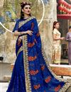image of Georgette Party Wear Designer Blue Thread Embroidered Saree