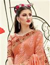 photo of Peach Georgette Party Wear Designer Thread Embroidered Saree