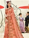 image of Peach Georgette Party Wear Designer Thread Embroidered Saree
