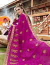 photo of Georgette Party Wear Magenta Designer Thread Embroidered Saree