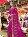 image of Georgette Party Wear Magenta Designer Thread Embroidered Saree