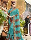 image of Party Wear Designer Thread Embroidered Cyan Saree In Georgette