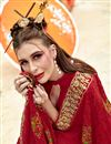 photo of Red Party Wear Designer Georgette Thread Embroidered Saree