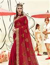 image of Georgette Party Wear Red Designer Thread Embroidered Saree