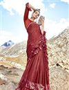 image of Lycra Fabric Party Wear Plain Maroon Frill Border Saree