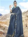 image of Party Wear Plain Navy Blue Lycra Fabric Ruffle Saree