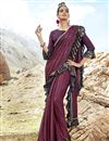 image of Lycra Fabric Party Wear Wine Plain Frill Border Saree