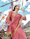 photo of Net Fabric Function Wear Designer Embroidered Saree In Pink