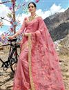 image of Net Fabric Function Wear Designer Embroidered Saree In Pink