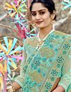 photo of Function Wear Designer Embroidered Net Fabric Saree In Cyan